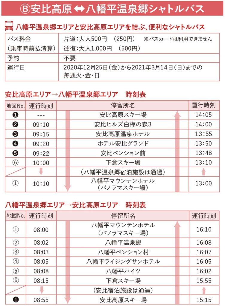 スキー場間連絡バス2020-2021
